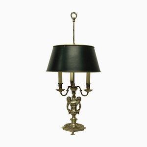 Lampe de Bureau Bouillotte en Bronze Plaqué Argent, 1920s
