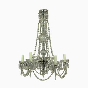 Lámpara de araña inglesa antigua de vidrio tallado