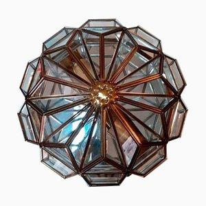 Sechseckige Deckenlampe aus Messing & Kristallen