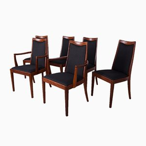 Mid-Century Teak and Leather Dining Chairs by Leslie Dandy for G-Plan, 1960s, Set of 6