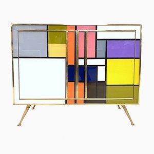 Aparador Mondrian vintage de latón, vidrio y caoba, 1970