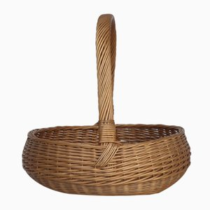 Large Japanese Style Wicker Basket, 1970s