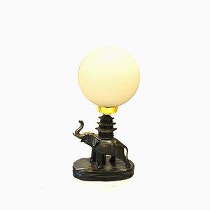 Lampe de Bureau Art Déco en Forme d'Éléphant en Métal, Bois et Verre