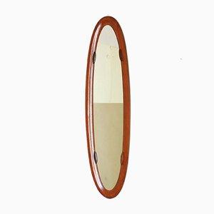 Ovaler Spiegel mit Holzrahmen, 1950er