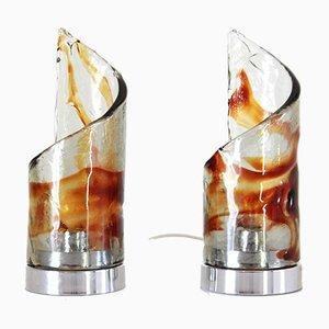 Lámparas de mesa de cristal de Murano de Carlo Nason para Mazzega, años 70. Juego de 2