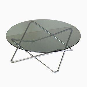 Mesa de centro era espacial de vidrio ahumado y estructura de hierro cromado, años 70