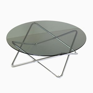 Space Age Smoky Glass & Chromed Iron Structure Coffee Table, 1970s