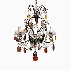 Lampadario artigianale fiorentino con gocce in cristallo e vetro sfaccettato