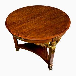Runder Guerdon Empire Tisch aus Mahagoni & goldenem Holz, 1880er