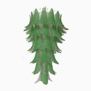 Runder Mid-Century Kronleuchter aus grünem Muranoglas, 1980