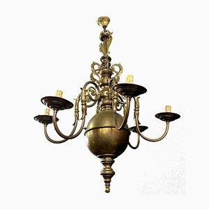 Niederländischer Kronleuchter aus vergoldetem Messing
