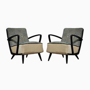 Italienische Mid-Century Sessel aus Buchenholz & Samt, 1950, 2er Set