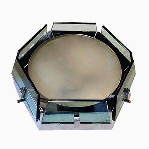 Lámpara de techo italiana de vidrio azul y acero de Fontana Arte para Veca