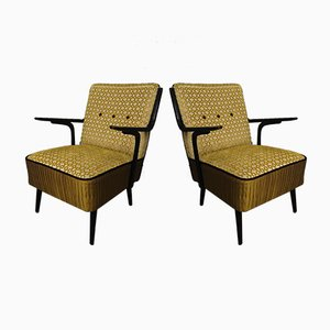 Art Deco Green Velvet and Black Lacquered Wood Armchairs, 1940, Set of 2