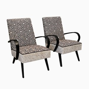 Mid-Century Italian Combined White Velvet & Beech Wood Armchairs, 1950, Set of 2