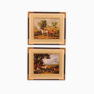 Escenas de caza, Francia, años 40, vidrio, madera y papel. Juego de 2