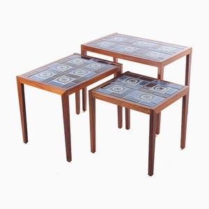Vintage Danish Rosewood Nesting Tables with Ceramic Tabletop, 1960s, Set of 3
