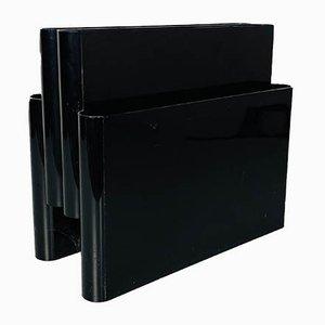 Porte-Revues 4676 en Plastique Noir avec 4 Poches par Giotto Stoppino pour Kartell, 1970s
