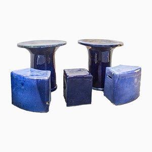 Glazed Ceramic Stools & Tables Set, France, 1980s