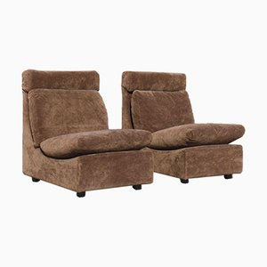 Modular Armchairs or 2-Seat Sofa in Brown Velvet by Walter Knoll Collection, Set of 2
