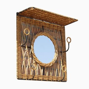 Steel & Rattan Wall Cloakroom Central Mirror, France, 1950s