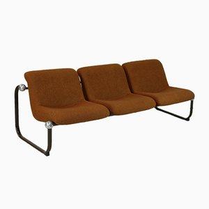 Space Age Steel, Foam & Wool Sofa, France, 1970s