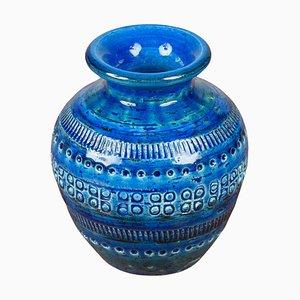 Jarrón de cerámica azul de Flavia Montelupo para Bitossi, años 60