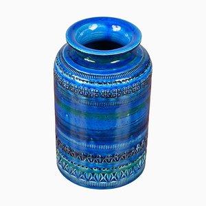 Blue Ceramic Vase by Aldo Londi for Bitossi, 1960s