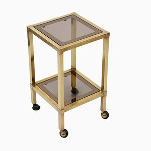 Mid-Century Square Coffee Table in Brass Brass and Smoked Glass, 1970s