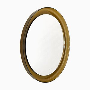 Mid-Century Round Wall Mirror in Luceve Brown Fumé from Guzzini, Italy, 1970s