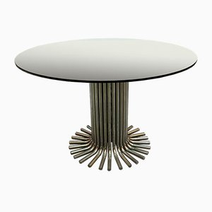 Glass Table with Steel Base by Gastone Rinaldi