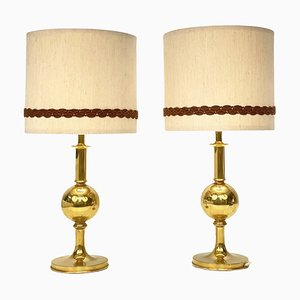 Mid-Century Table Lamps in Solid Golden Brass, Italy, 1980s, Set of 2