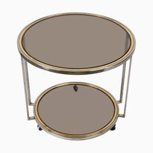 Mid-Century Italian Coffee Table in Brass, Chrome & Smoky Glass, 1970s
