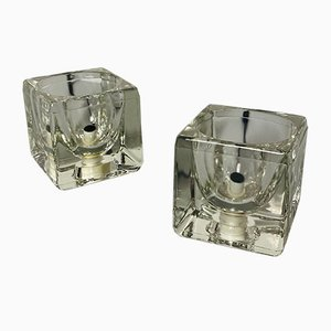 Mid-Century Italian Modern Thick Transparent Glass Bedside Lamps, 1980s, Set of 2