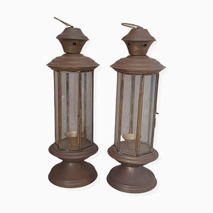 Indian Lanterns in Brass and Crystals, Set of 2