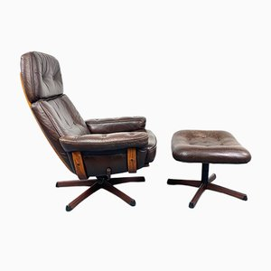 Swedish Leather Loungechair with Footrest, 1970s