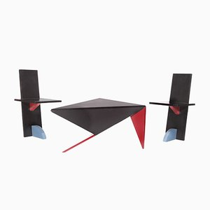 Postmodern Coffee Table with Chairs, 1980s, Set of 3