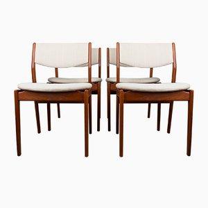 Model Od 45 Danish Chairs in Teak & Fabric by Erik Buch for Oddense Maskinsnedkeri A / S, 1960, Set of 4