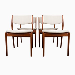 Modell Od 45 Dänische Stühle aus Teak & Stoff von Erik Buch für Oddense Maskinsnedkeri A / S, 1960, 4er Set