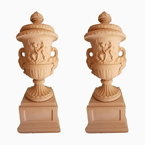 Monumental Aged Faux Marble Resin Garden Urns, Set of 2