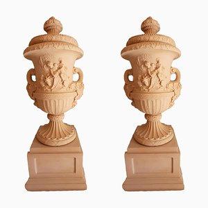 Urne da giardino monumentali in finto marmo, set di 2