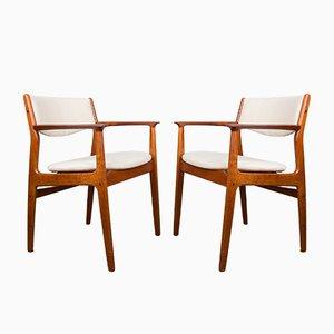 Model Od 45 Danish Chairs in Teak & Fabric by Erik Buch for Oddense Maskinsnedkeri A / S, 1960, Set of 2