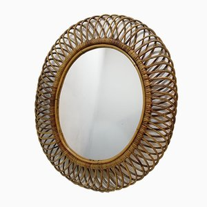 Mid-Century Mirror in Wicker and Rattan by Franco Albini, Italy, 1960s