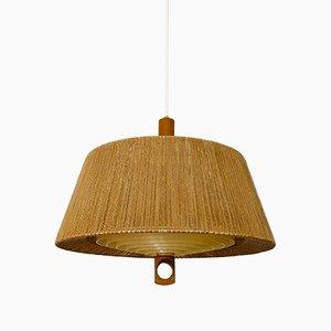 Lámpara colgante de rafia de Temde, años 60