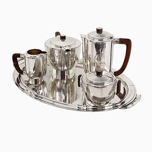 Art Deco Silver-Plated Coffee Set with Tray, Set of 5