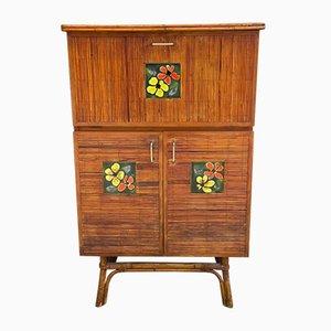 Vintage Rattan and Ceramic Bar Cabinet
