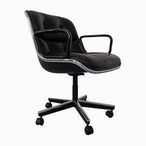 Black Leather Pollock Executive Chair by Charles Pollock for Knoll International, 1960s