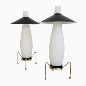 Brass and Opaline Table Lamps, Italy, 1950s, Set of 2