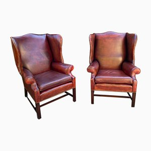 Leather Armchairs, Set of 2