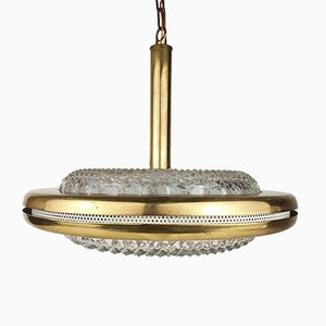 Glass and Brass Pendant Lamp from Konsthantverk, 1950s
